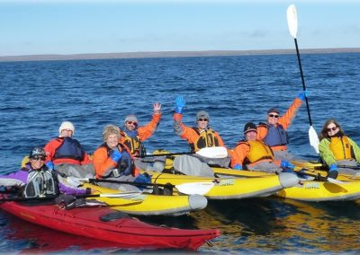 kayaking as Bev bravely on zodiac by herself
